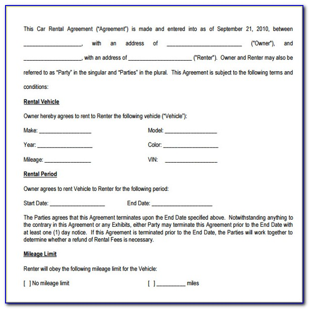 Sample Of A Vehicle Lease Agreement