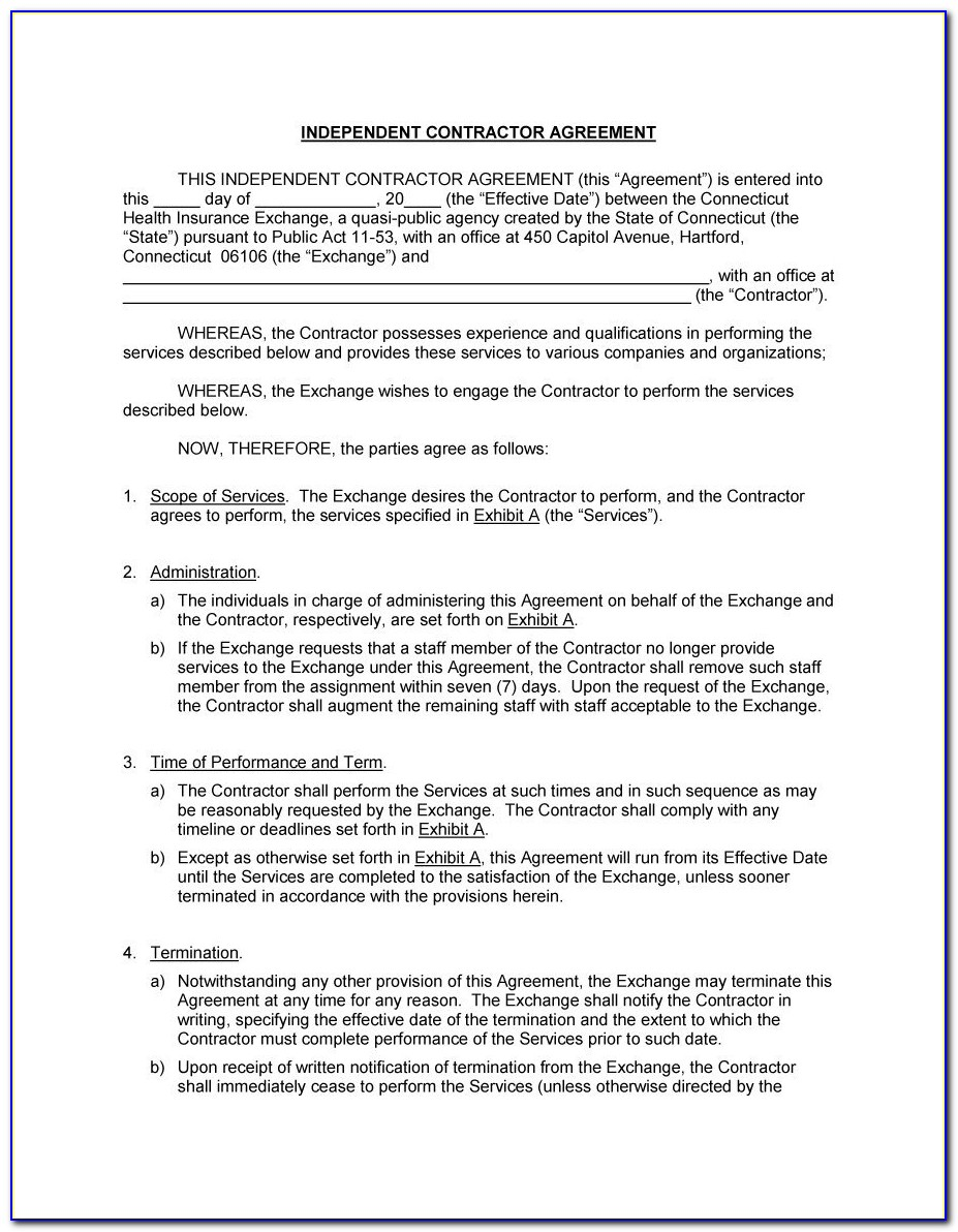 Sample Of An Independent Contractor Agreement
