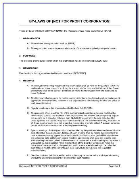 Sample Of Organization Bylaws