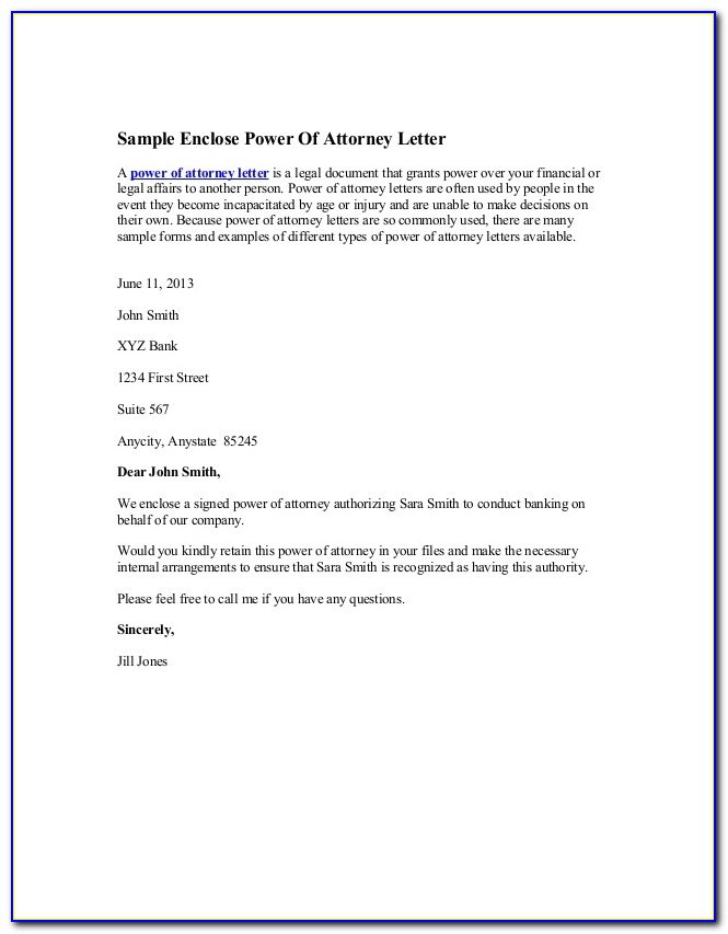 Sample Of Power Of Attorney Authorization Letter