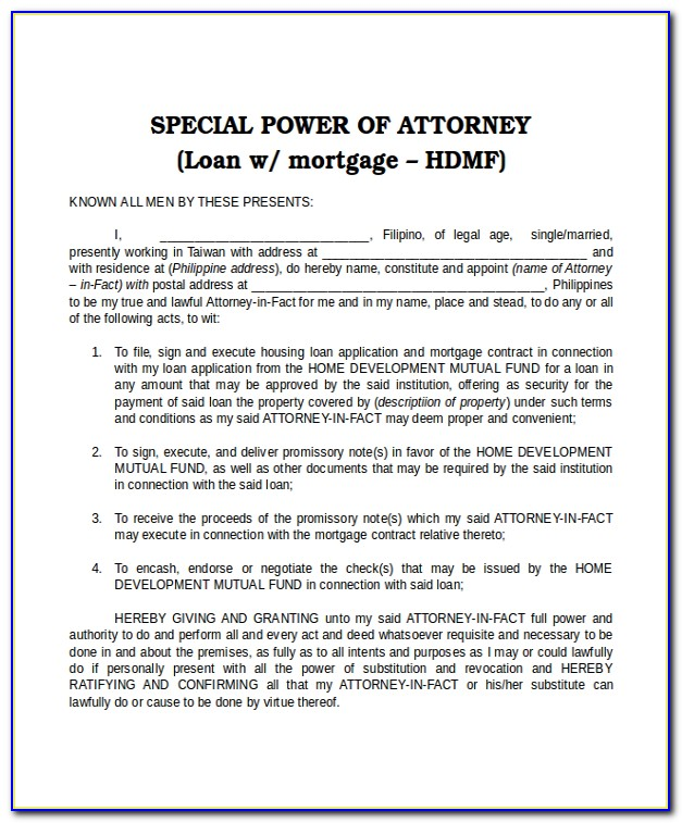 Sample Of Power Of Attorney