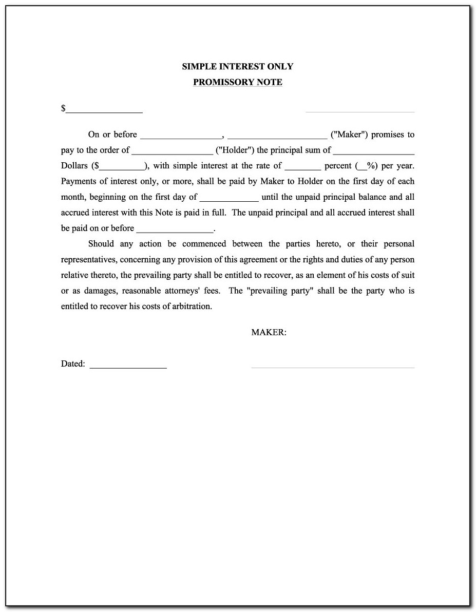 Sample Of Promissory Note For Loan
