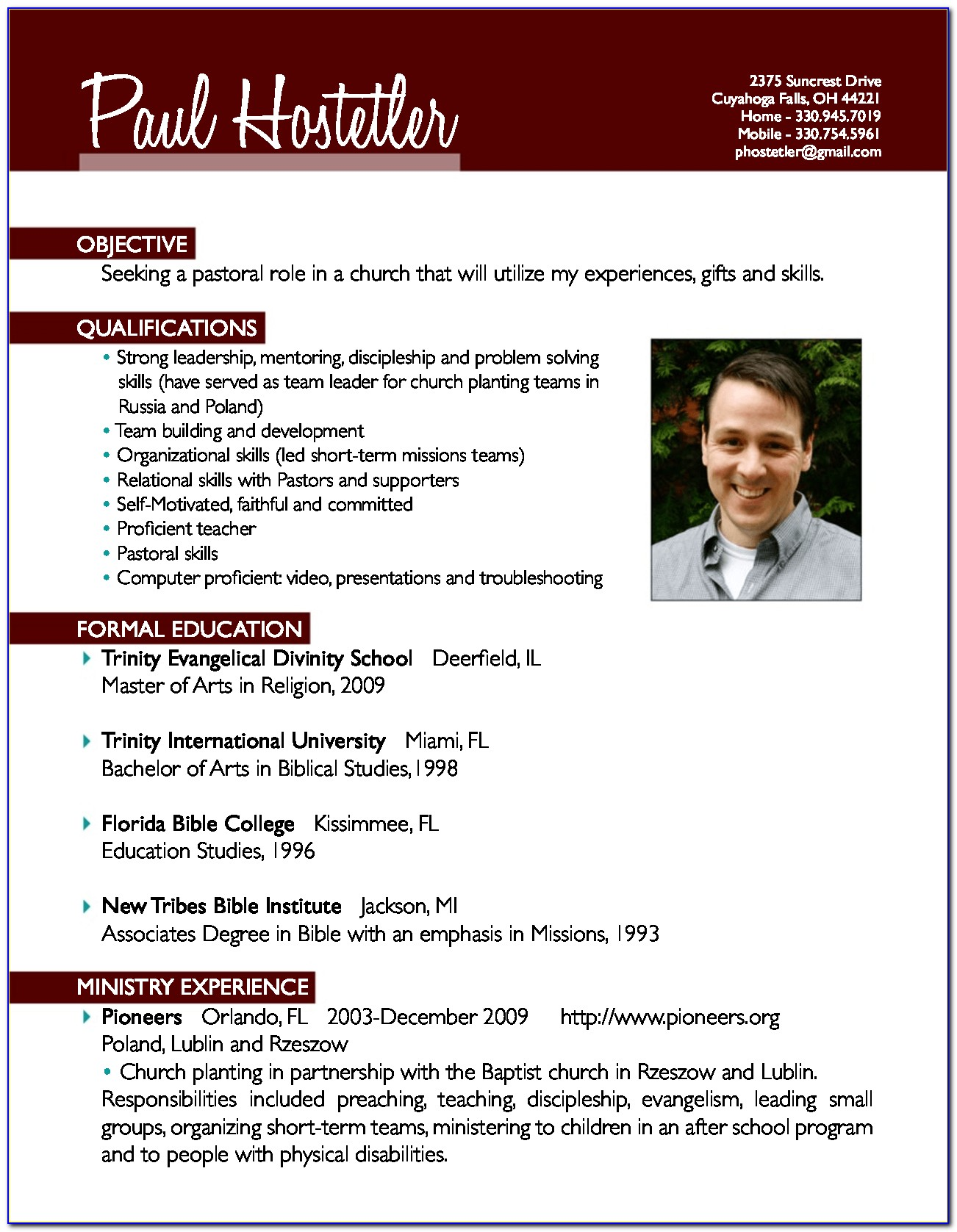 Sample Pastor Resume Templates