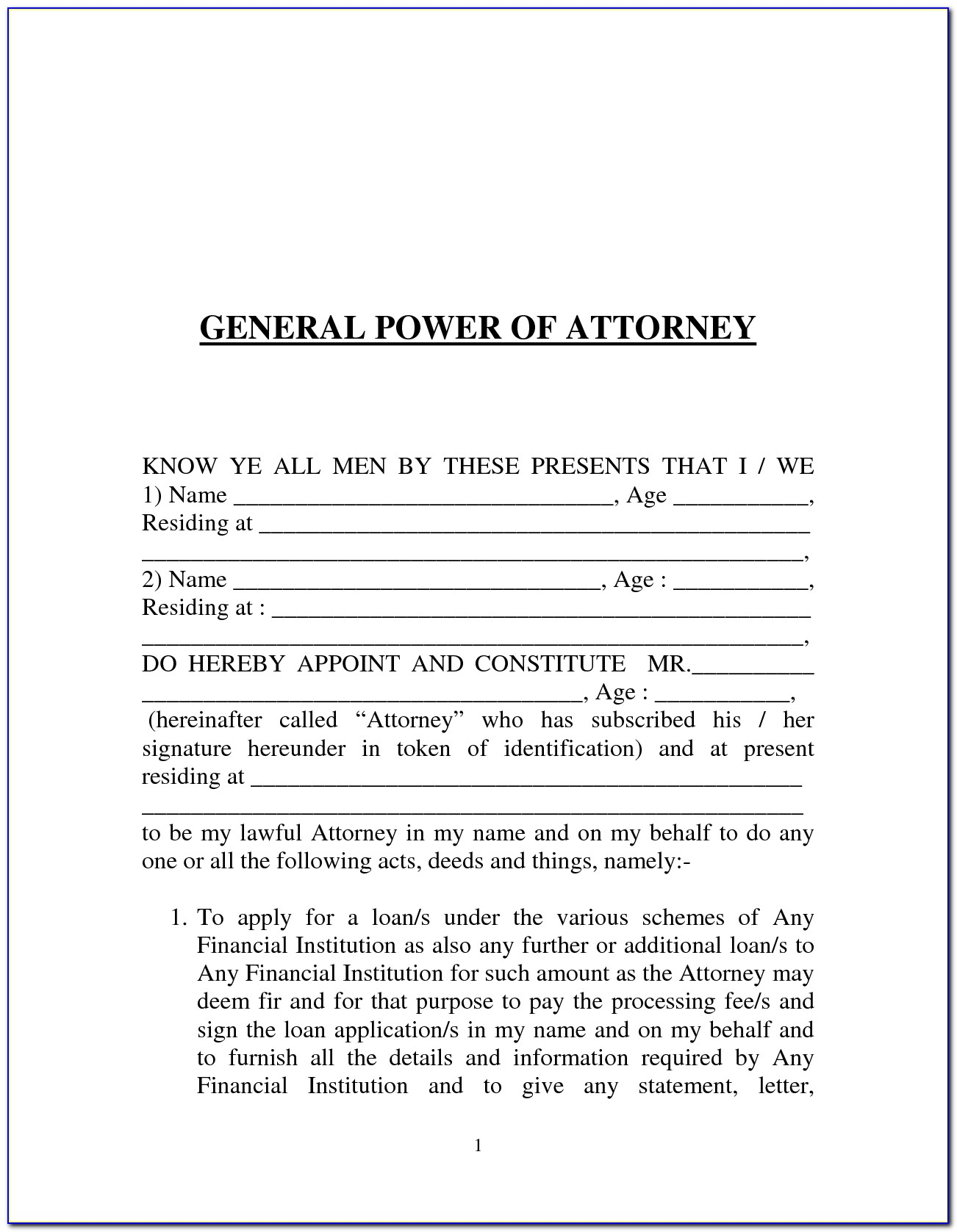 Sample Power Of Attorney Doc
