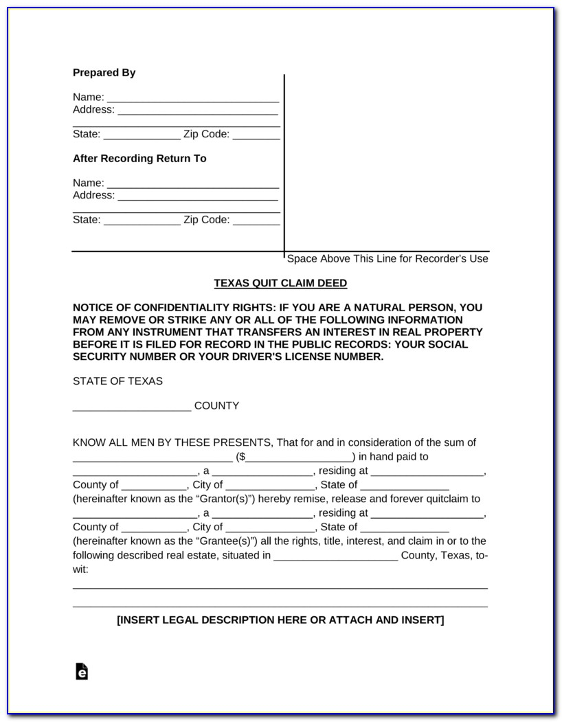 Sample Quit Claim Deed Form Indiana