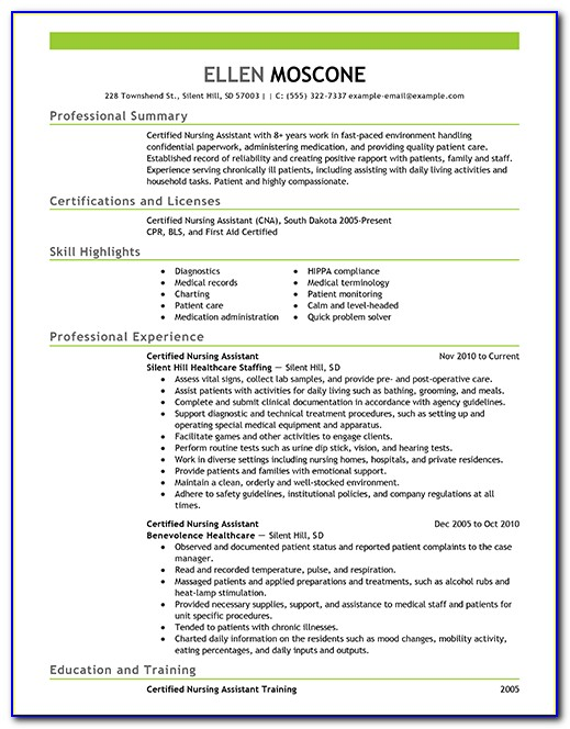 Sample Resume For Certified Nurse Aide