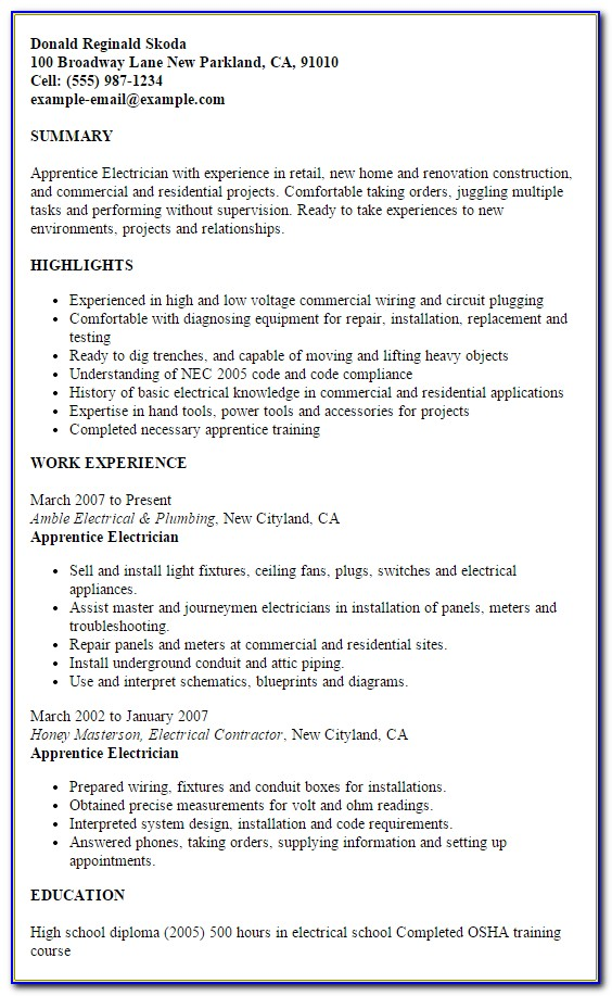 Sample Resume For Electrician Technician