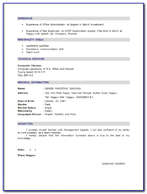 Sample Resume For Freshers Mba Finance And Hr