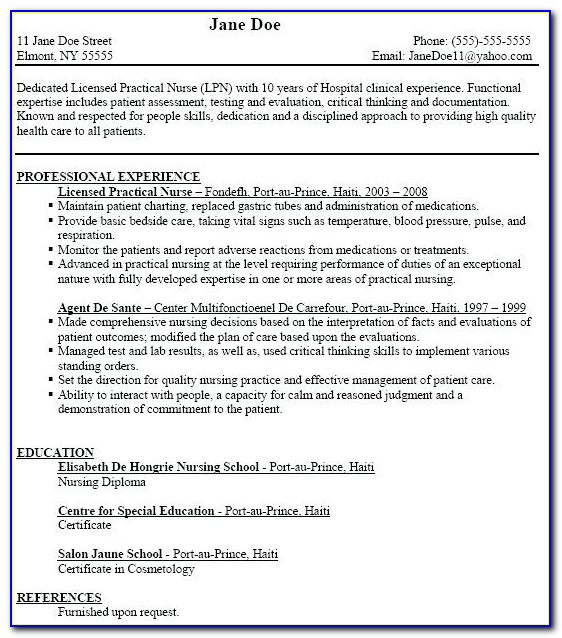 Sample Resume For Lpn With Objectives