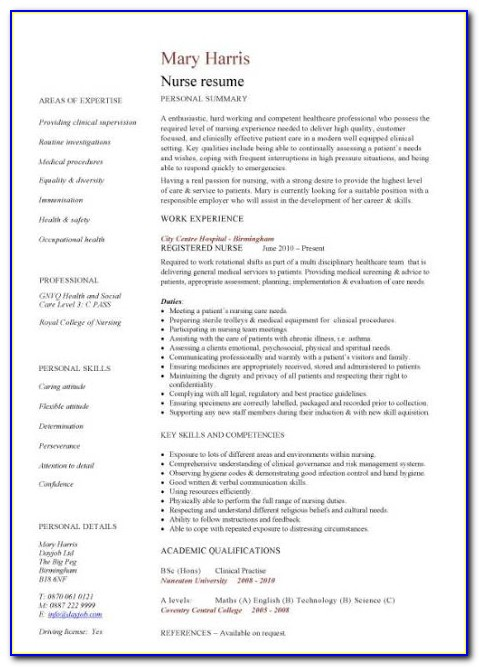 Sample Resume For Nurses With Experience In India