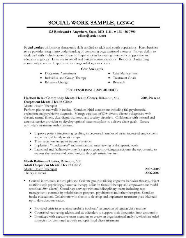 Sample Resume For Social Worker With No Experience