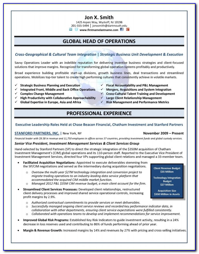 Sample Resume Format For Executive Assistant