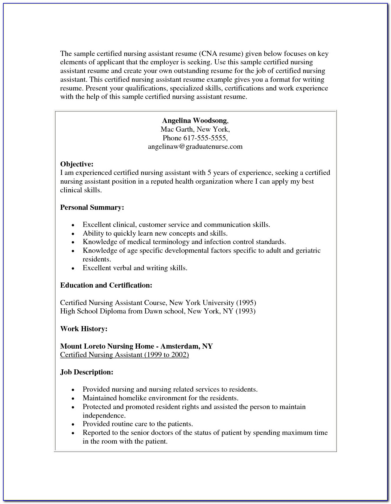 Entry Level Nursing Assistant Resume Resume Examples For Cna