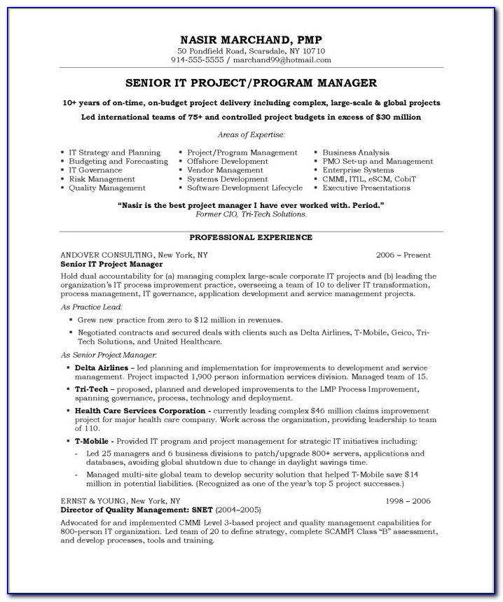 Sample Resume Of A Project Manager
