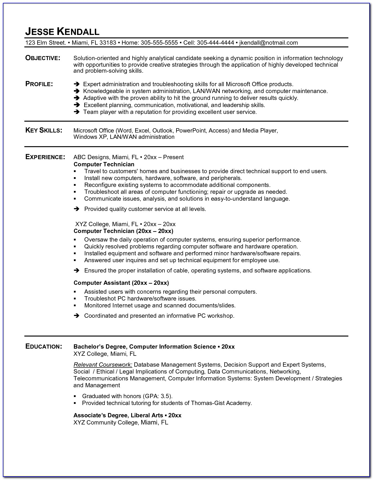 Sample Resume Of Computer Technician