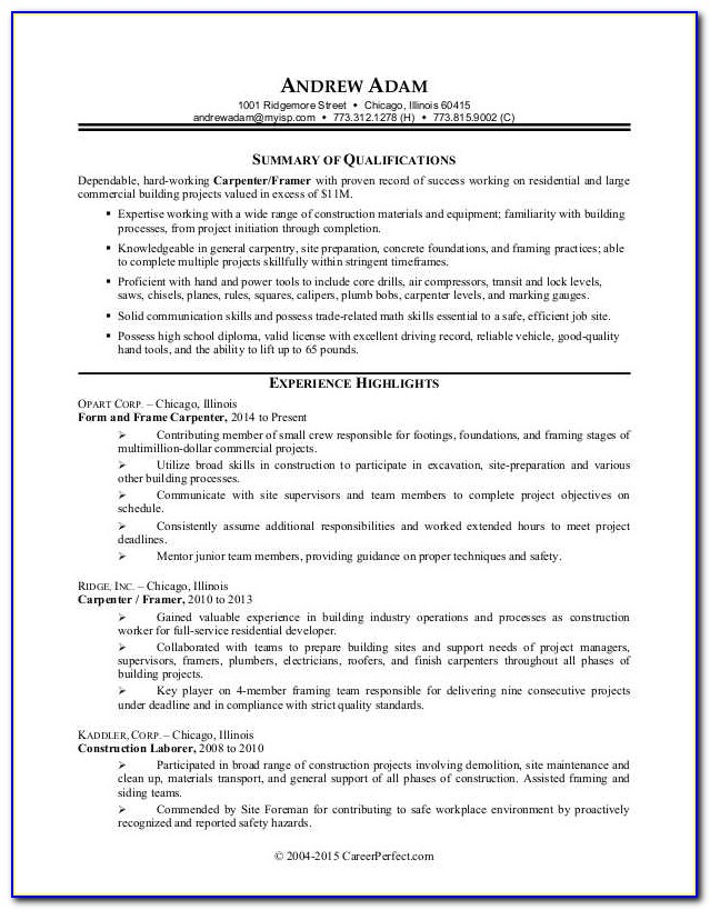 Sample Resume Of Construction Worker
