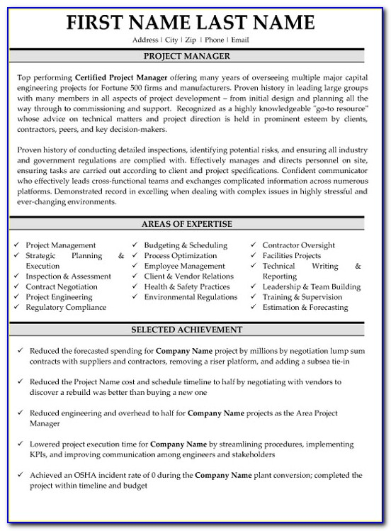 Sample Resume Project Manager Telecommunications