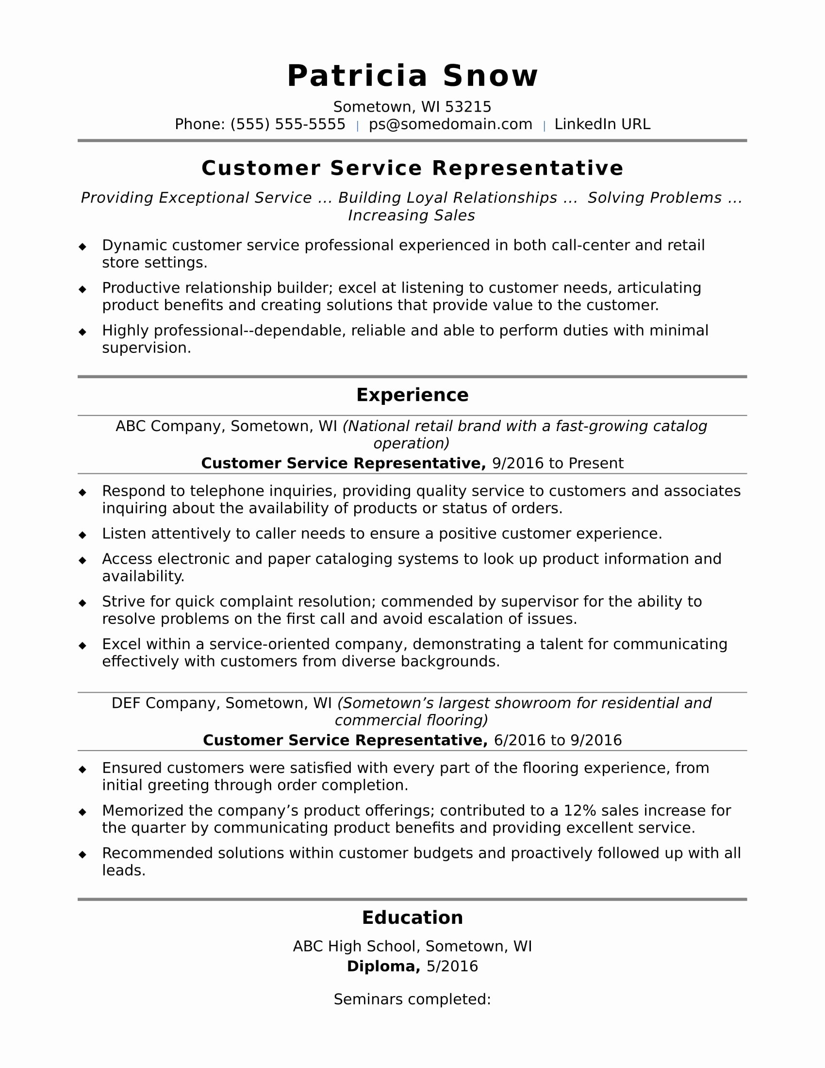 Sample Resume Skills For Customer Service Representative