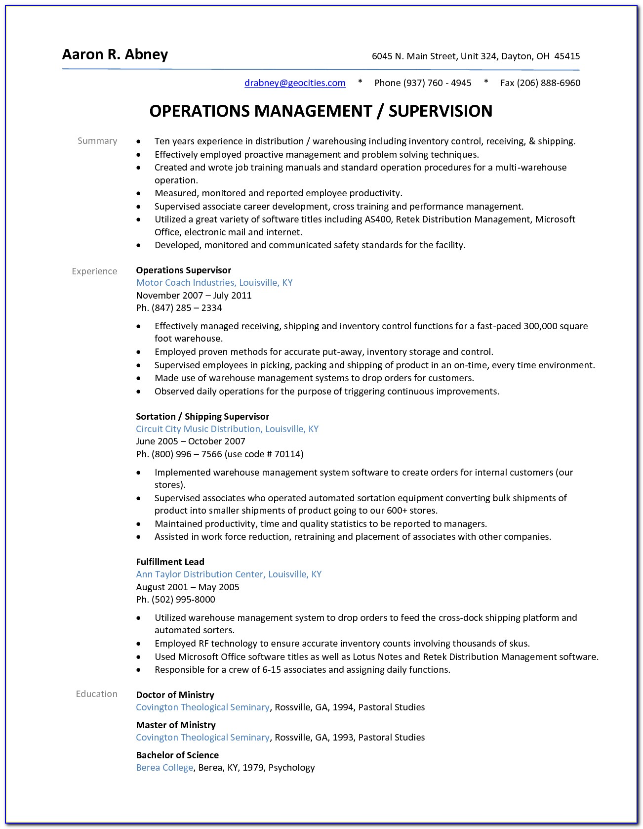 Sample Resume Warehouse Operations Manager
