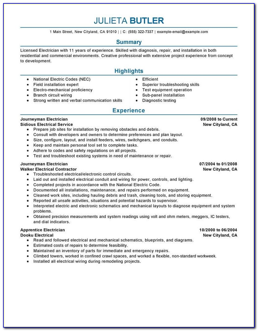 Sample Resumes For Apprentice Electricians