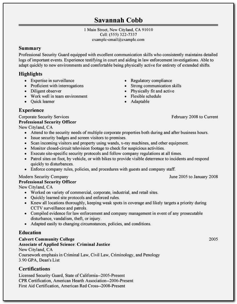 Resume Format For Security Guard