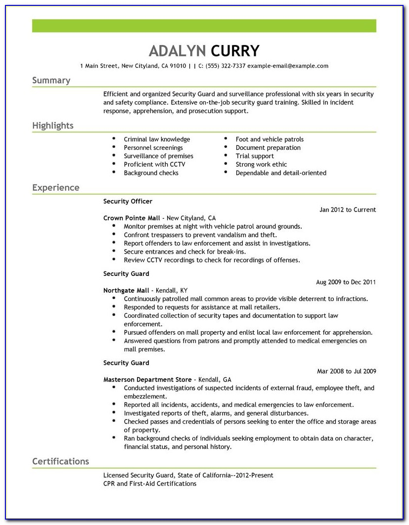 sample security guard resume objective  vincegray2014