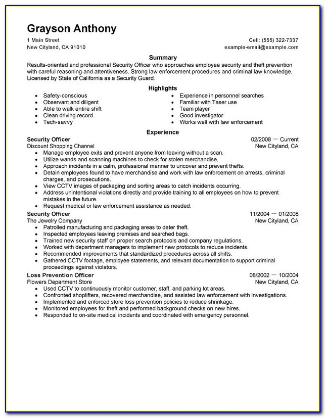 Sample Security Guard Supervisor Resume