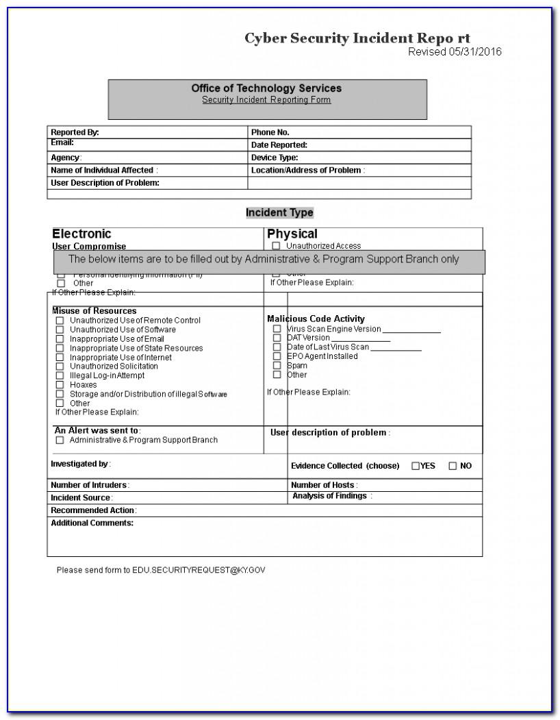 Sample Security Incident Response Report Form