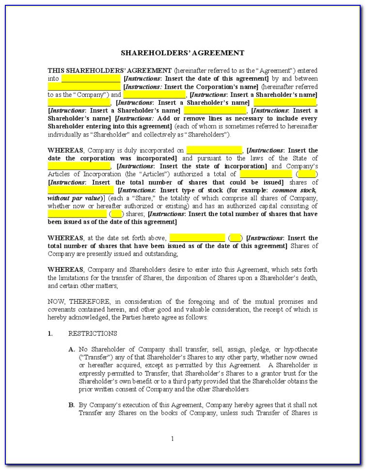 Sample Shareholders Agreement India