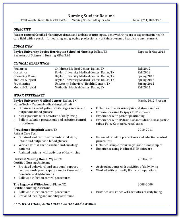 Sample Student Nurse Resume Templates