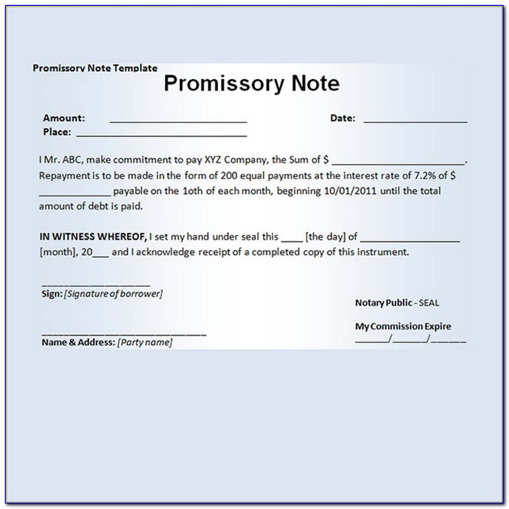 Sample Template Of Promissory Note   vincegray30