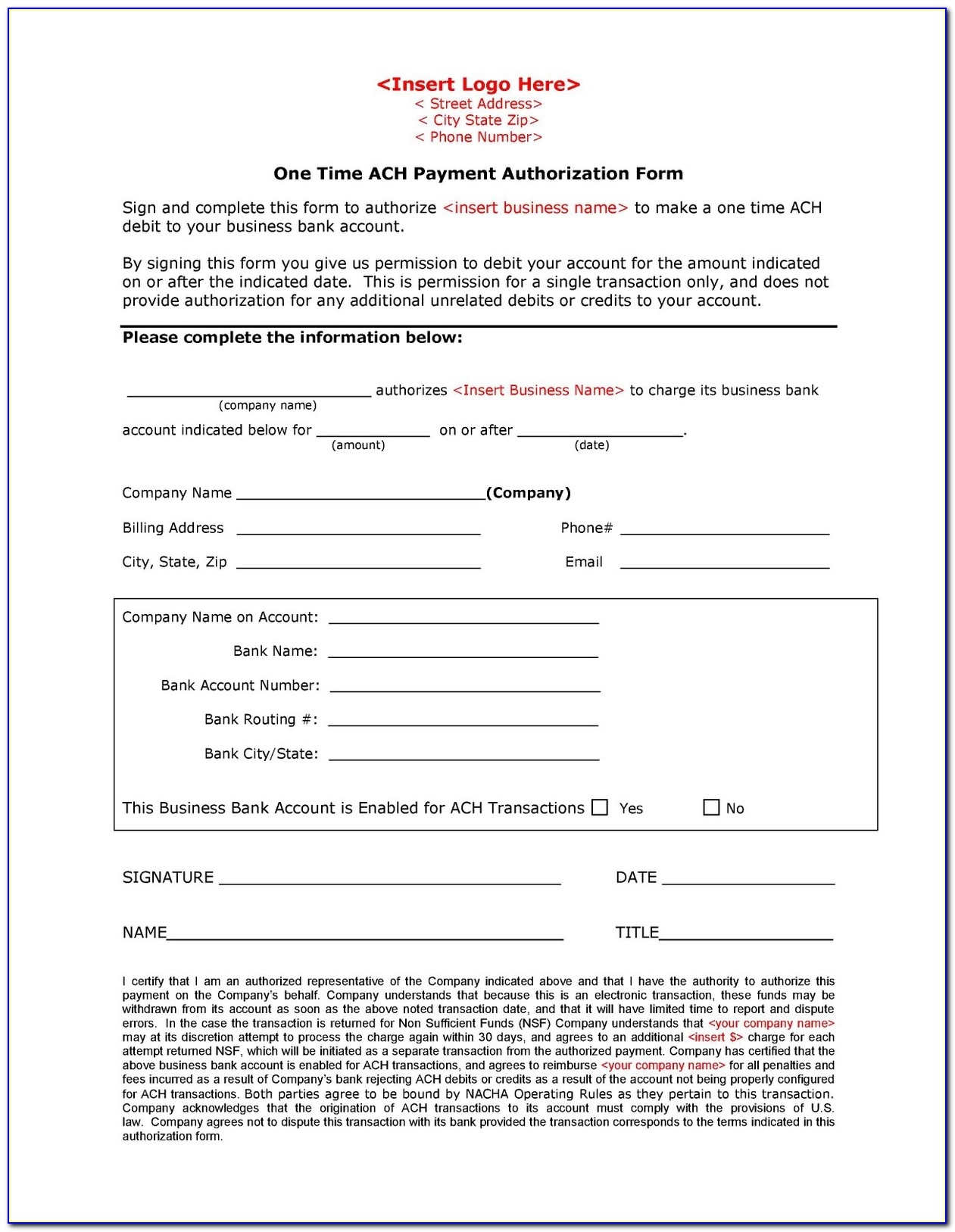 Sample Vendor Ach Authorization Form