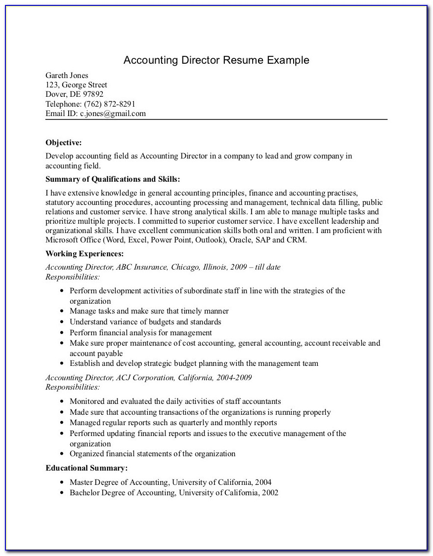Samples Of A Great Resume