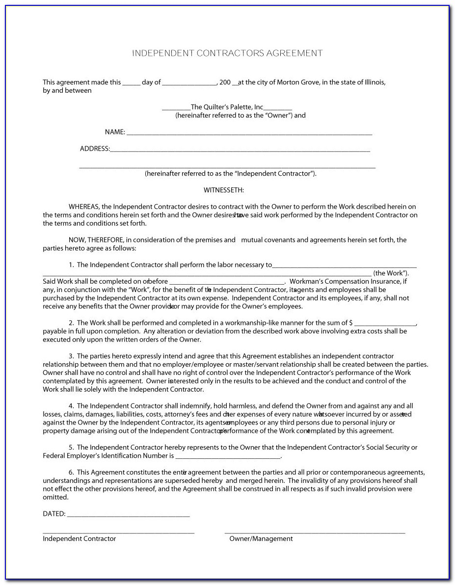 Samples Of Independent Contractor Agreement