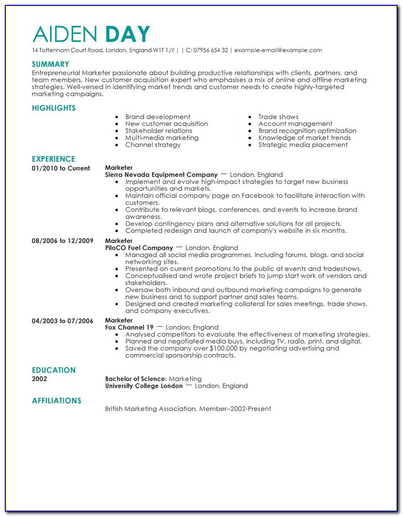 Samples Of Marketing Resumes