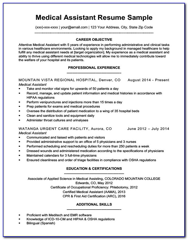 Example Of Resumes For Medical Assistant Vincegray2014