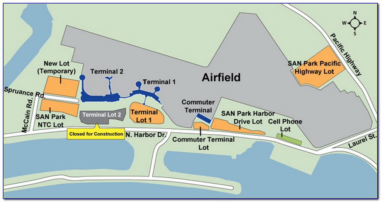 San Diego Airport Long Term Parking Map