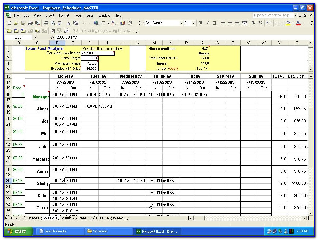 Scheduling Template Excel