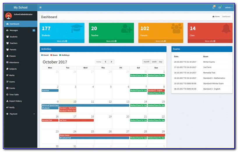 School Management System Admin Template Free Download