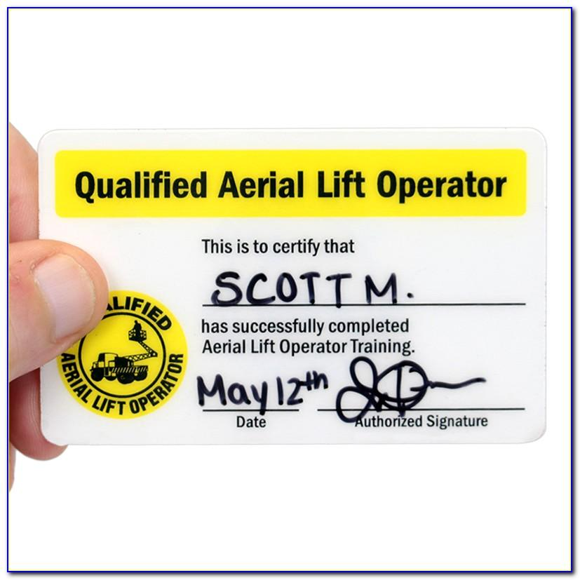 Scissor Lift Certification Card Template