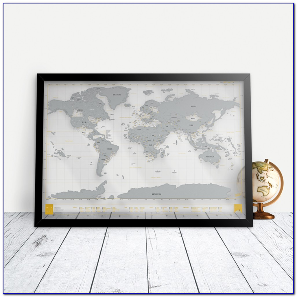 Scratch Map Frame Canada
