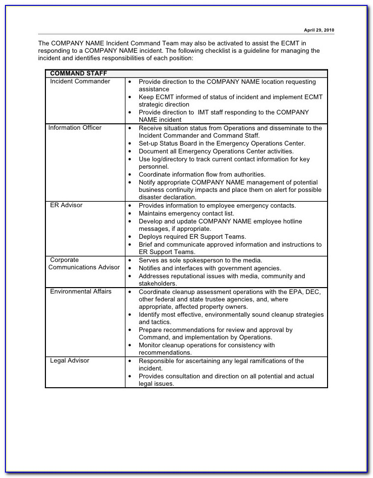 Security Incident Management Plan Template