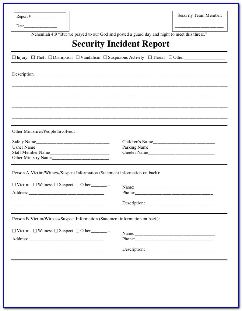 Security Incident Report Form Template Word