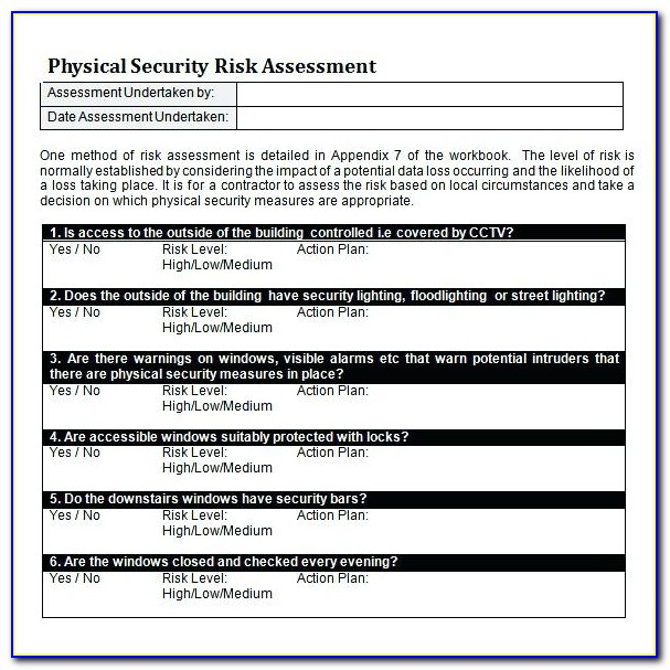 Security Risk Analysis Template Excel