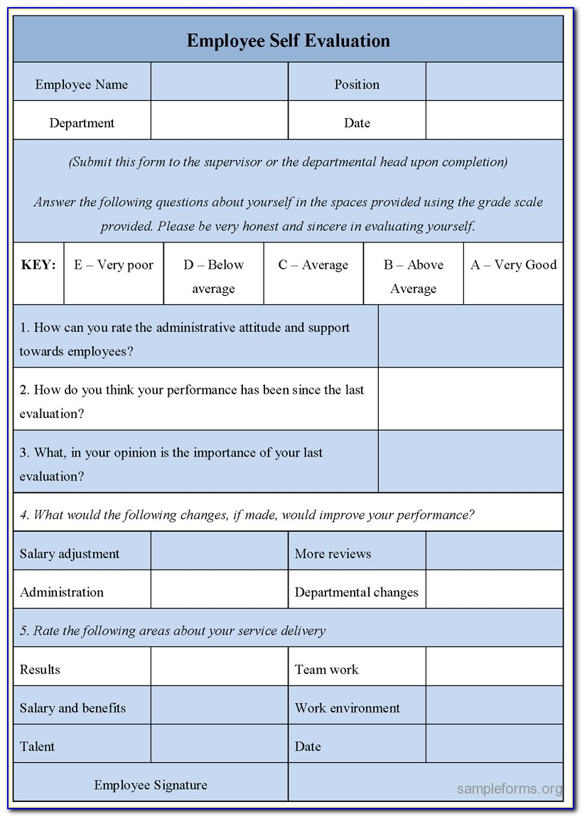 Self Evaluation Form For Employees Performance