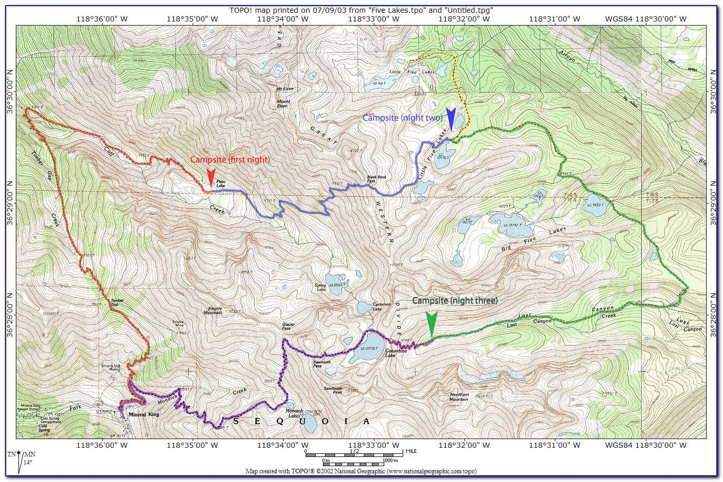 Sequoia National Park Hiking Map Pdf