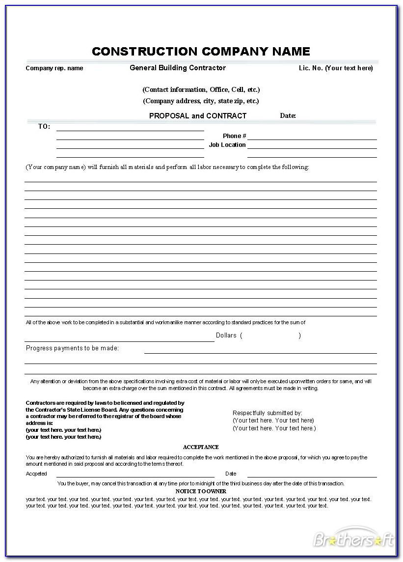Service Contract Bid Proposal Template