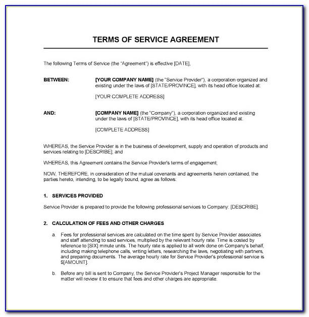 Service Contract Sample Word