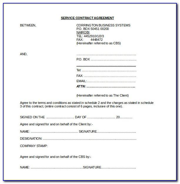 Service Contract Template Word Simple