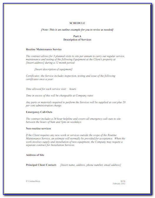 Service Contract Terms And Conditions Template